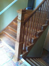 All Oak Box Newel Stair Railing