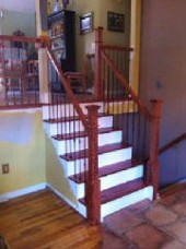 Stair Railing with Iron Balusters