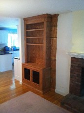 Oak Entertainment Center with Corner Glass Shelves