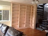 Wall of Maple Bookshelves