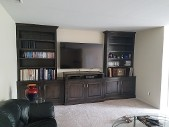 Dark Wooden Entertainment Center and Shelves